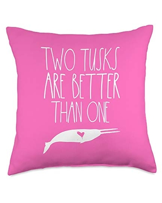 Narwhal Gifts Co Lover for Girls Women Two Tusked Narwhal Unicorn Sea Throw Pillow, 18x18, Multicolor