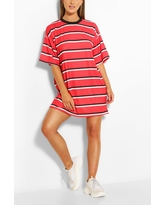 Womens Stripe Oversized T-Shirt Dress - Red - 4