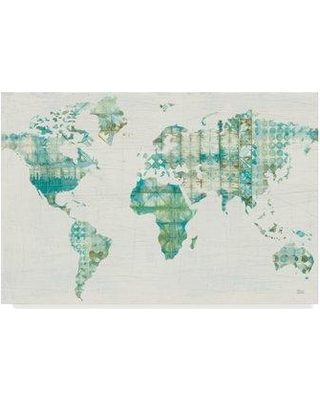 """East Urban Home 'Kanari Map' Acrylic Painting Print on Wrapped Canvas EBHV4035 Size: 30"""" H x 47"""" W x 2"""" D"""