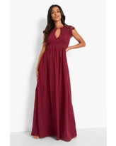 Womens Lace Detail Wrap Pleated Maxi Dress - Red - 8