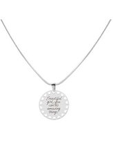 Inspirational Disc Necklace with Hearts Cutout By Pink Box - Beautiful Girl