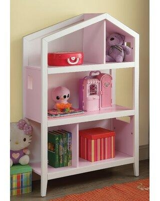 Harriet Bee Heloise Standard Bookcase W001734947 Color: White/Pink