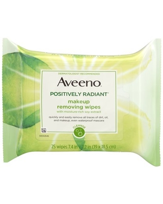 Aveeno Positively Radiant Oil-Free Makeup Removing Face Wipes, 25 ct.