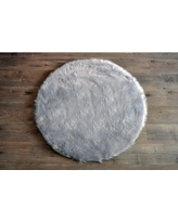 Harriet Bee Deshazo Faux Sheepskin Gray/White Area Rug HRBE3587 Rug Size: Round 3'6""