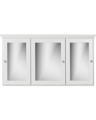 Simplicity by Strasser 48 in. W x 27 in. H x 6.5 in. D Tri-View Surface-Mount Medicine Cabinet Rounded/Mirror in Dewy Morning