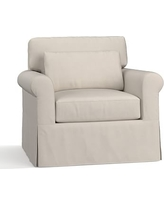 York Roll Arm Slipcovered Deep Seat Armchair, Down Blend Wrapped Cushions, Performance Everydaysuede(TM) Stone