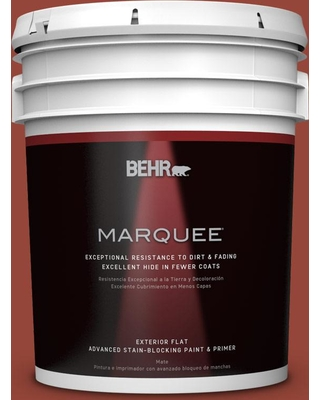 BEHR MARQUEE 5 gal. #S-H-200 New Brick Flat Exterior Paint and Primer in One