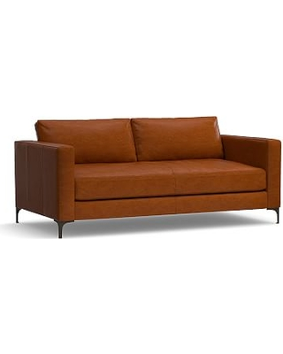 "Jake Leather Loveseat 70"", Down Blend Wrapped Cushions, Leather Legacy Dark Caramel"
