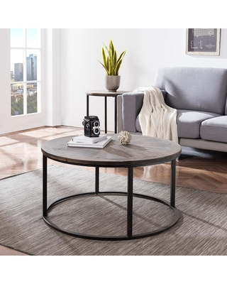 Southern Enterprises Latta 36 in. Gray/Black Medium Round Wood Coffee Table, Natural reclaimed wood and black finish