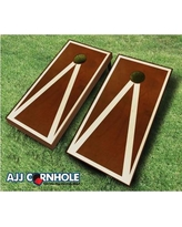 AJJCornhole 10 Piece Pyramid Cornhole Set 109 - Stained Pyramid - red Bean Bag Color: Red/Navy Blue