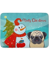 The Holiday Aisle Snowman with Fawn Pug Memory Foam Bath Rug THLA4987