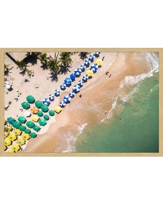 """Marmont Hill 'Beach Umbrellas' Photographic Print MH-BOUPHO-06-C- Size: 16"""" H x 24"""" W Format: Gold Framed"""
