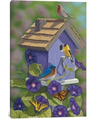 """East Urban Home 'Primarys and Butterflies' Painting Print on Canvas EAUU1576 Size: 40"""" H x 26"""" W x 1.5"""" D"""