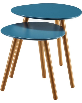 Convenience Concepts Oslo Blue and Natural Nesting End Tables, Blue/Natural