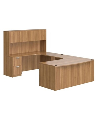 Offices To Go Superior Laminate Bow Front Desk with Hutch, Autumn Walnut | Quill