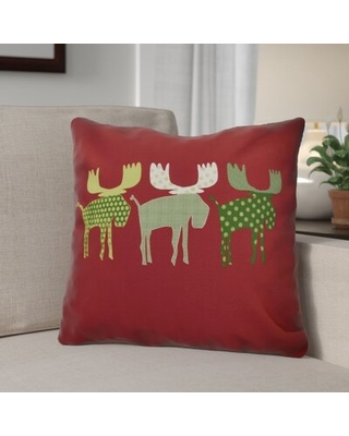 """Christmas Decorative Holiday Animal Print Square Pillow Cover and Insert The Holiday Aisle® Size: 18""""x18"""", Color: Cranberry"""