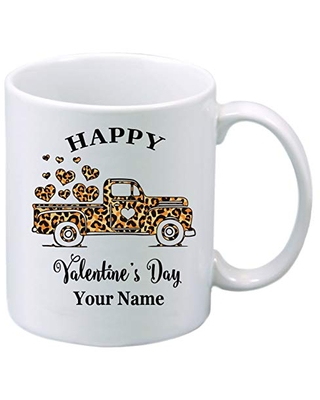 Personalized Leopard Truck Motif Happy Valentine's Day Mug with Your Name and/or Message