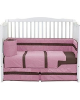 Baby Doll Bedding Solid Stripe Crib Comforter 520com-brown/green Color: Pink/Brown
