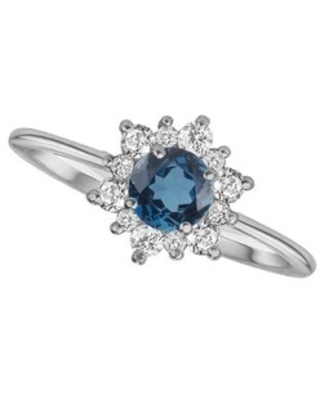 Sterling Silver with Natural London Blue Topaz and White Topaz Flower Ring (8)