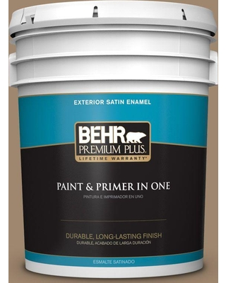 BEHR Premium Plus 5 gal. #700D-5 Toffee Crunch Satin Enamel Exterior Paint and Primer in One