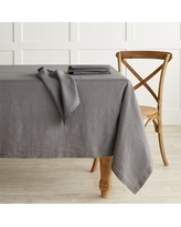 """Italian Washed Linen Tablecloth, 70 X 108"""", Charcoal"""