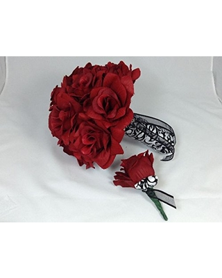 RED ROSES BRIDAL BOUQUET AND GROOM'S BOUTONNIERE 2 PC.
