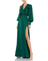 Ieena for Mac Duggal Long Sleeve Faux Wrap Satin Gown, Size 8 in Deep Emerald at Nordstrom