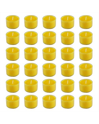 Lumabase 31430 Citronella Tea Light Candles in Clear Holders-8 Hour (30 Count), Yellow