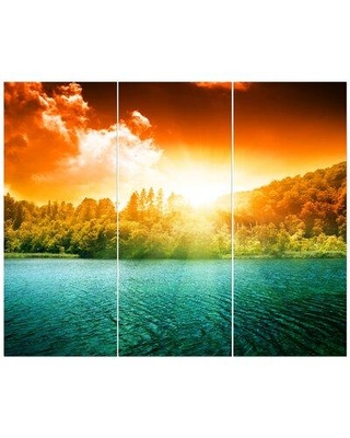 East Urban Home 'Green Water in Sunset' Photographic Print Multi-Piece Image on Wrapped Canvas FCIV5302