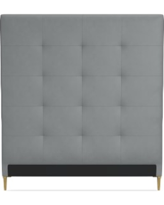 Brooklyn Tall Headboard Only, California King, Tuscan Leather, Dove, Antique Brass
