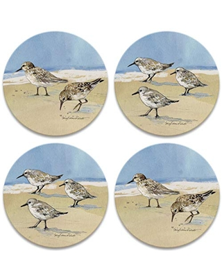 CoasterStone Sandpipers Set of 4 Coasters, One Size, Multicolored