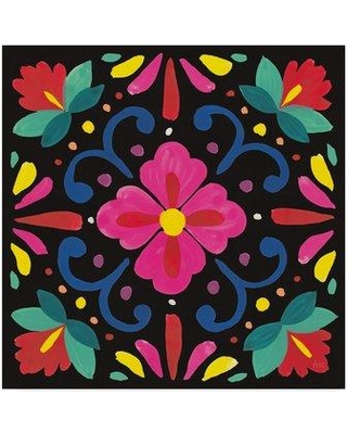 """World Menagerie 'Floral Fiesta Tile VII' Graphic Art Print on Wrapped Canvas WRME2269 Size: 14"""" H x 14"""" W x 2"""" D"""