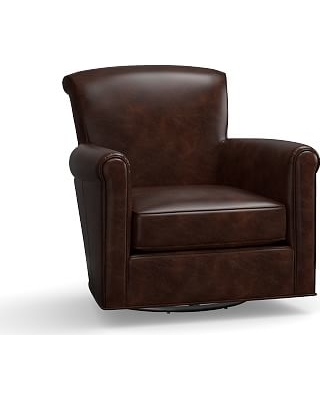 Irving Leather Swivel Armchair, Polyester Wrapped Cushions, Leather Legacy  Tobacco
