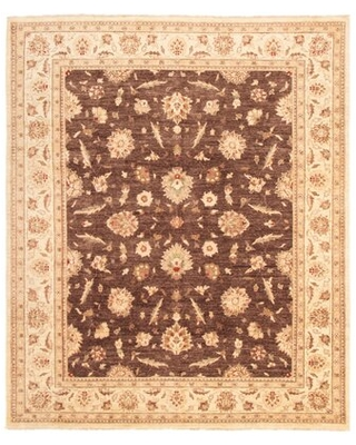 """One-of-a-Kind Vildan Hand-Knotted 2010s Chobi Cream/Dark Copper/Teal 8'1"""" x 9'10"""" Wool Area Rug World Menagerie"""
