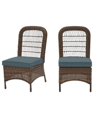 Hampton Bay Beacon Park Brown Wicker Outdoor Patio Armless Dining Chair with Sunbrella Denim Blue Cushions (2-Pack)