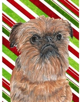 Caroline's Treasures Candy Cane Christmas House Vertical Flag SC9790CHF Dog Breed: Brussels Griffon (Beige and Brown)