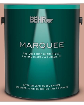 BEHR MARQUEE 1 gal. #220F-4 Sombrero Tan Semi-Gloss Enamel Interior Paint and Primer in One