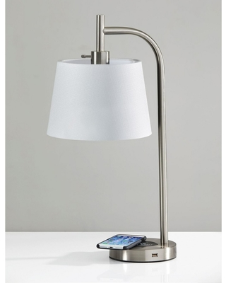 Wireless Charging Table Lamp Medium Silver (Lamp Only) - Adesso