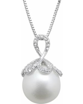 """PearLustre by Imperial Freshwater Cultured Pearl & White Topaz Sterling Silver Pendant Necklace, Women's, Size: 18"""""""