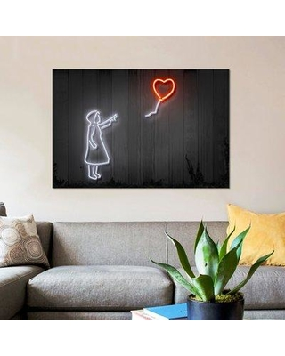 """East Urban Home 'Girl with a Balloon' Graphic Art Print on Canvas ESUI2550 Size: 40"""" H x 60"""" W x 1.5"""" D"""