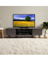 Noble House Cresent Mid-Century Modern TV Stand with Glass Shelf, Gray