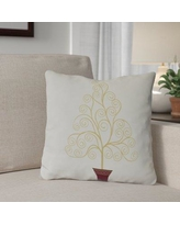 """The Holiday Aisle® Away He Goes Square Pillow Cover and Insert IMEZ8592 Size: 20"""" H x 20"""" W Color: Off White"""