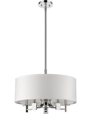 Acclaim Lighting Andrea Indoor 5-Light Polished Nickel Pendant with Fabric Shade