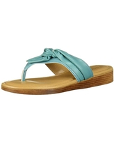 Tuscany by Easy Street Women's Maren Thong Sandal Wedge, Turquoise, 12 M US
