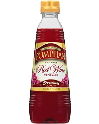 Pompeian Gourmet Red Wine Vinegar, Perfect for Salad Dressings, Marinades & Sauces, Naturally Gluten Free,16 FL. OZ., Pack of 12