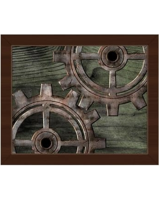 """Click Wall Art Iron Gears on Green Wood Framed Graphic Art on Canvas IND0001061FR Format: Espresso Framed Size: 13.5"""" H x 16.5"""" W"""
