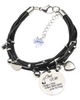 Genuine Leather Bracelet made with Crystals from Swarovski - God will make a way