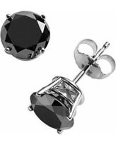 10k White Gold 2-ct. T.W. Black Round-Cut Diamond Solitaire Earrings, Women's