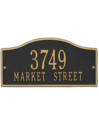 Personalized Whitehall Products Rolling Hills Standard Wall Address Plaque in Black/Gold