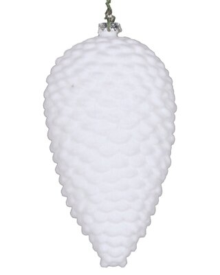 Flocked Pinecone Finial Ornament The Holiday Aisle® Color: White